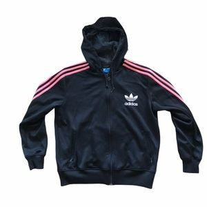 Vintage Full Zip Adidas Pink and Black Hoodie